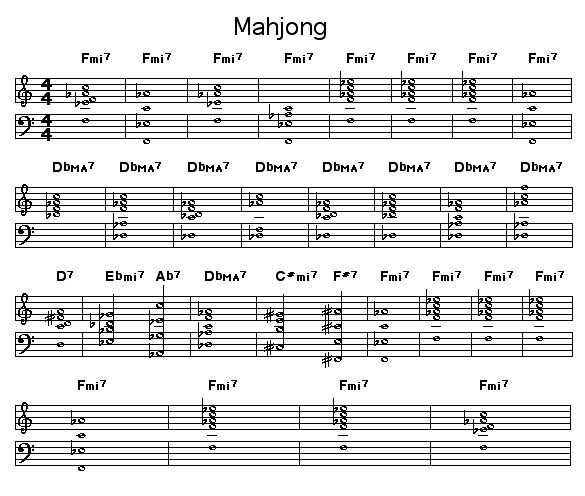 "Mahjong: <P>Chord changes for Wayne Shorter's ""Mahjong"". This was first recorded for Shorter's album ""JuJu"" on Bluenote Records.</P>  <object type=""application/x-shockwave-flash"" data=""http://www.lala.com/external/flash/SingleSongWidget.swf"" id=""lalaSongEmbed"" width=""220"" height=""70""><param name=""movie"" value=""http://www.lala.com/external/flash/SingleSongWidget.swf""/><param name=""wmode"" value=""transparent""/><param name=""allowNetworking"" value=""all""/><param name=""allowScriptAccess"" value=""always""/><param name=""flashvars"" value=""songLalaId=576742244705460167&host=www.lala.com""/><embed id=""lalaSongEmbed"" name=""lalaSongEmbed"" src=""http://www.lala.com/external/flash/SingleSongWidget.swf"" width=""220"" height=""70""type=""application/x-shockwave-flash"" pluginspage=""http://www.macromedia.com/go/getflashplayer""wmode=""transparent"" allowNetworking=""all"" allowScriptAccess=""always""flashvars=""songLalaId=576742244705460167&host=www.lala.com""></embed></object><div style=""font-size: 9px; margin-top: 2px;""><a href=""http://www.lala.com/song/576742227525590983/576742244705460167"" title=""Mahjong - Wayne Shorter"">Mahjong - Wayne Shorter</a></div>"