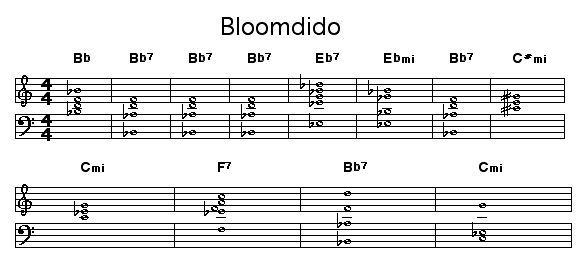 "Bloomdido: Chord progression of Charlie Parker's blues ""Bloomdido""."