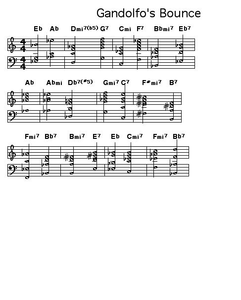 "Gandolfo's Bounce: Chord changes for Booker Little's ""Gandolfo's Bounce""."
