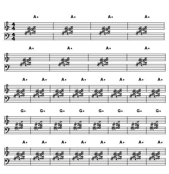 One Down, One Up: This harmony is based the scale A,A#,C#,D,F, and F#. The scale is the combination of an A augmented triad with and A# augmented triad. The scale contains the A#,D andF# major triads, plus A+ and A#+.    The basic chord accompaniment is to play all of the notes of the scale on A as one large cluster for the A sections and then play all of the notes of the scale transposed down a major 2nd to G for the B sections.    The scale transposed to G is G,G#,B,C,Eb, and E.