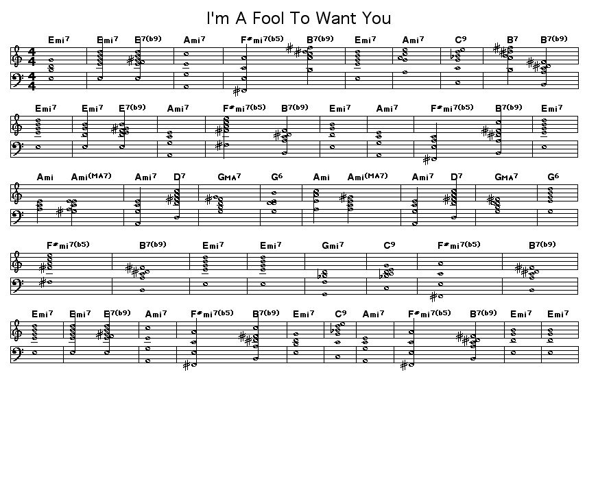 "I'm A Fool To Want You: Chord progression for Wolf, Herron and Sinatra's ""I'm A Fool To Want You""."