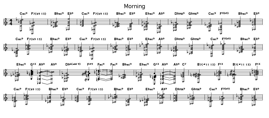 "Morning: Chord arrangement of Clare Fischer's ""Morning"".    Arrangement revised on 2/17/2012."