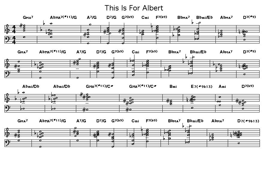 "This Is For Albert: <P>Chord progression for Wayne Shorter's ""This Is For Albert"". Wayne dedicated this  tune to pianist Bud Powell. It was first performed by Art Blakey's Jazz Messengers when Shorter was the musical director for that group in 1962.</P>"
